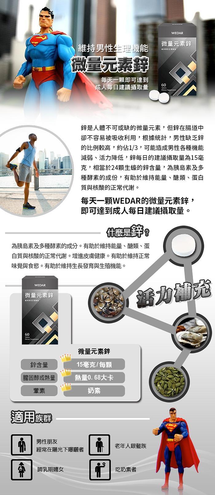 WEDAR薇達-微量元素鋅(60錠_60天份)產品資訊