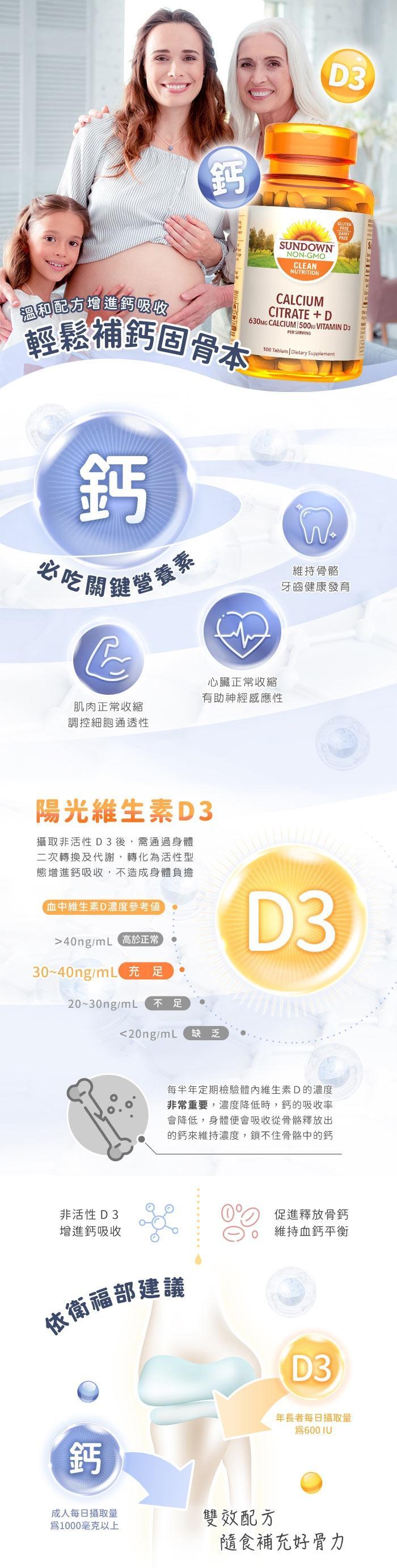 Sundown日落恩賜 精純檸檬酸鈣+維生素D3強化錠(100錠_50天份)產品資訊