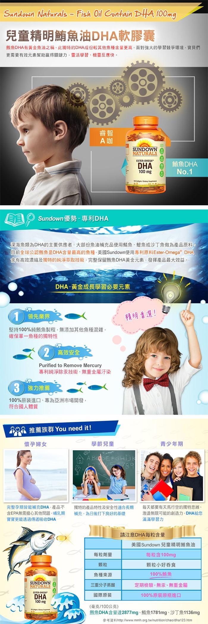 Sundown日落恩賜-兒童精明鮪魚油DHA軟膠囊產品說明。