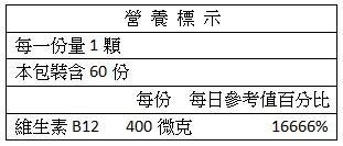 美天健-維生素B12(60粒)成份含量