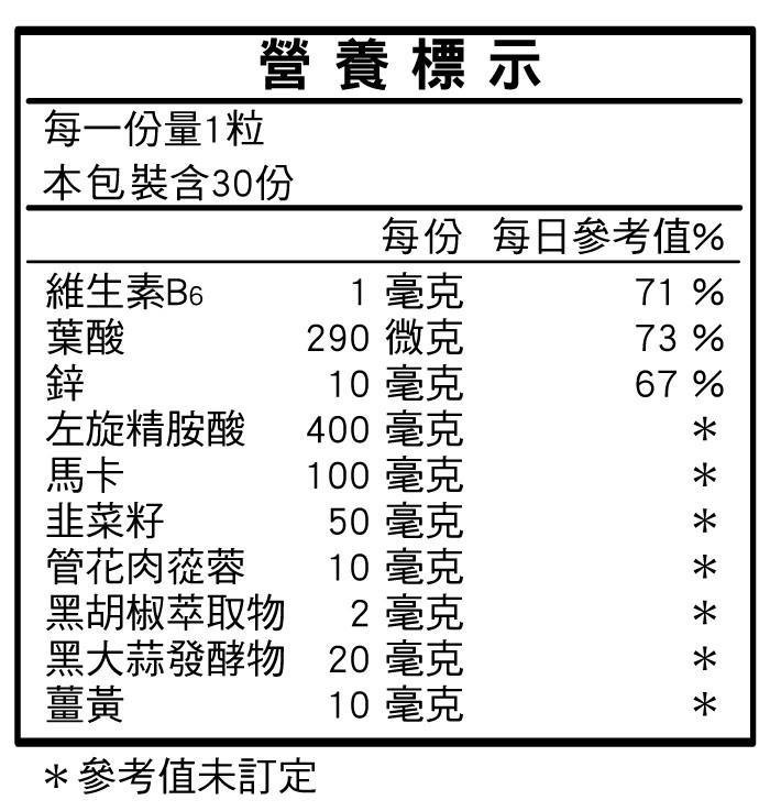 台灣康田-精胺酸馬卡鋅(30粒X2瓶)優惠組成份含量