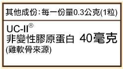 Sundown日落恩賜 勇健UCII非變性二型膠囊(60粒_60天份)成份含量