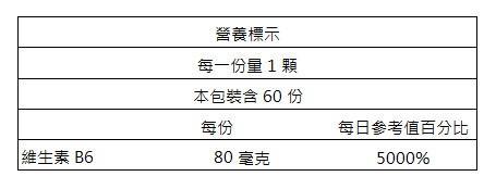 美天健-維生素B6錠(60錠)成份含量
