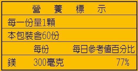 美天健-鎂膠囊(60顆)成份含量