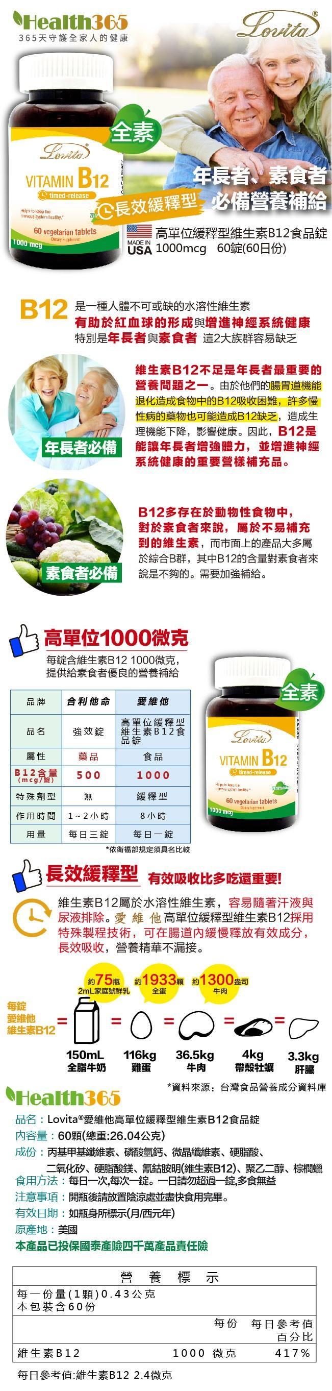 Lovita愛維他-高單位緩釋型維生素B12(1000mcg)(60錠-60天份)產品資訊