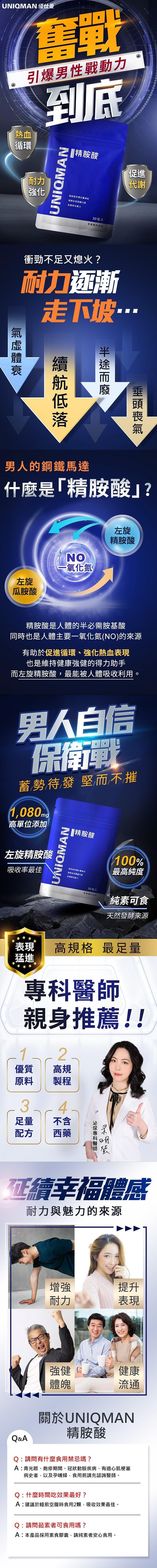 UNIQMAN-精胺酸膠囊食品(30粒/袋)3袋組產品資訊