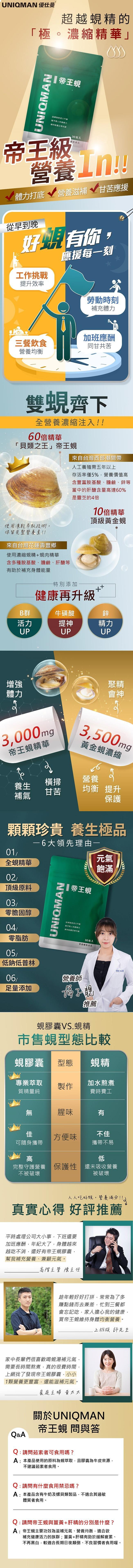 UNIQMAN-帝王蜆膠囊食品(30粒/袋)3袋組產品資訊