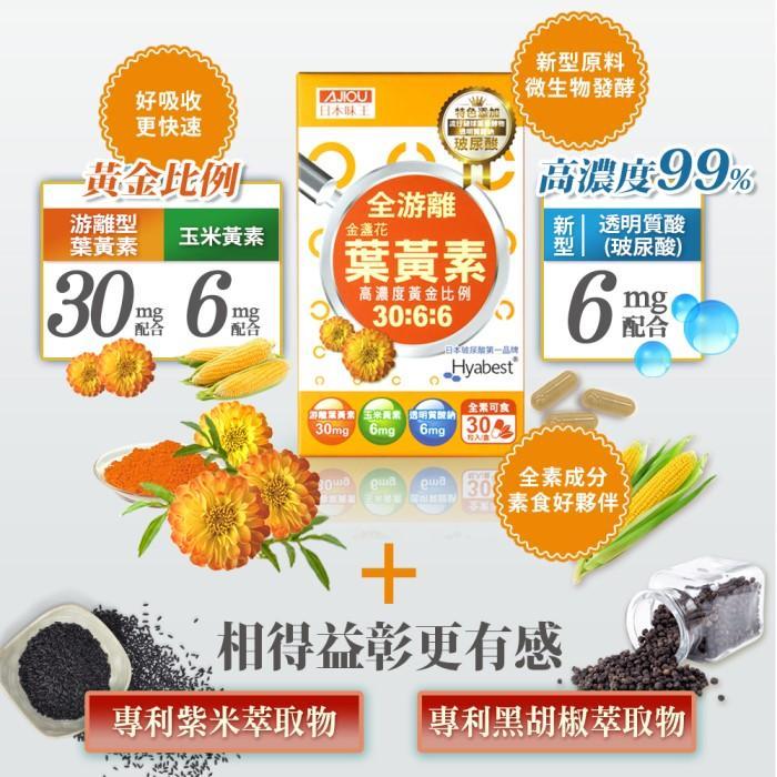 日本味王-30:6:6高濃度金盞花葉黃素晶亮膠囊((游離型+玻尿酸)(30粒X3盒)優惠組產品資訊