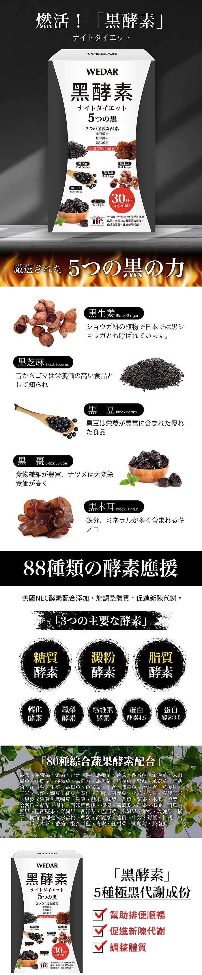 WEDAR 薇達-黑酵素商品介紹。