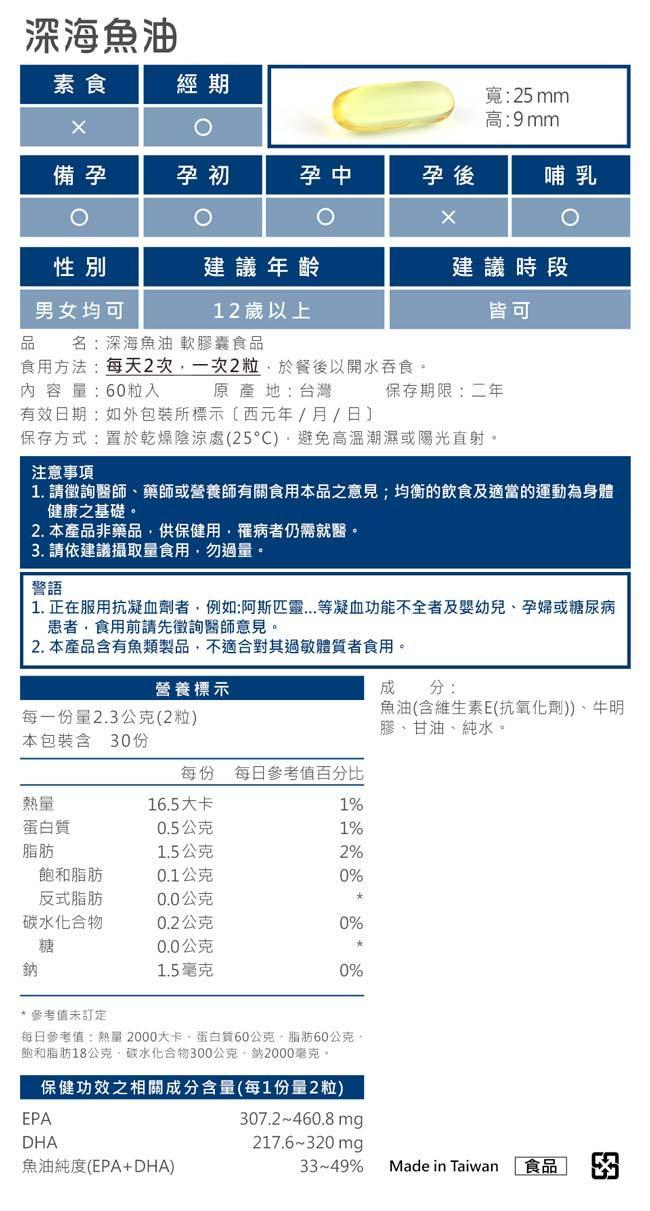 BHK's-健字號深海魚油軟膠囊(60粒/盒)產品資訊