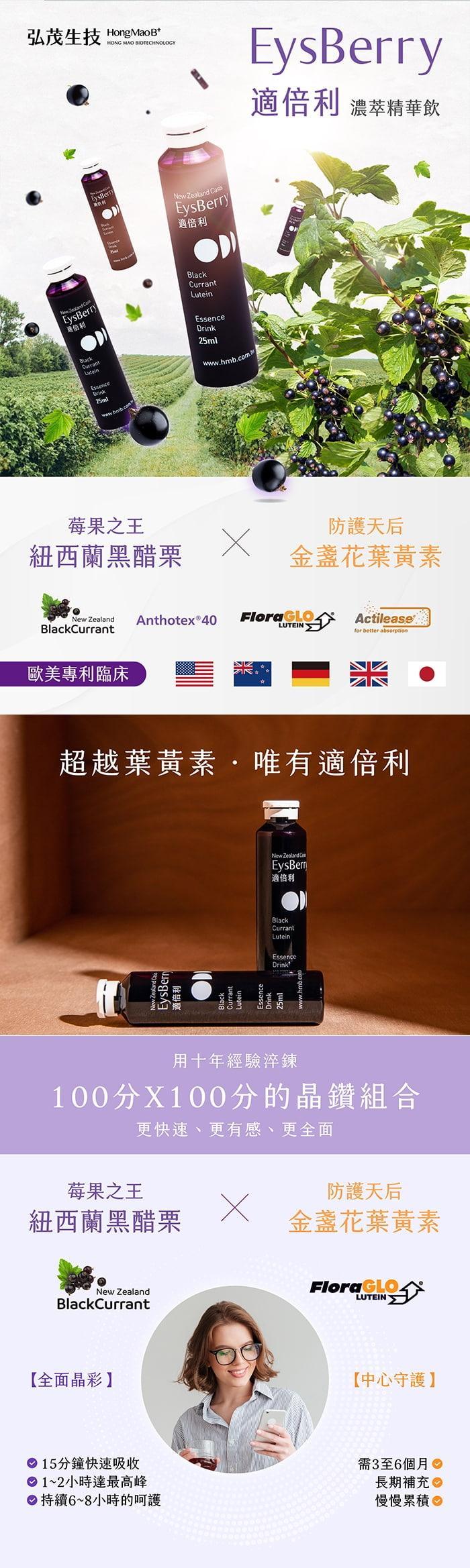 弘茂生技-適倍利黑醋栗葉黃素精華飲 Eysberry(6瓶X2盒)產品資訊