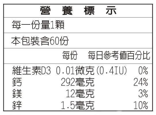 美天健 鈣鎂鋅+維他命D3片錠(60錠)成份含量