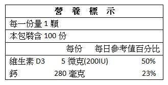 美天健-液態鈣軟膠囊(100顆)成份含量