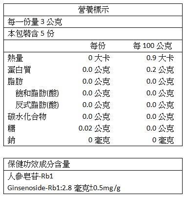 炳翰-人參花茶包(10包)成份含量