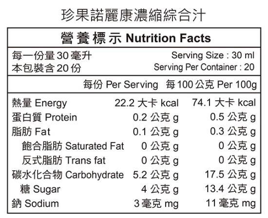 珍果諾麗康濃縮綜合汁(600ml)成份含量