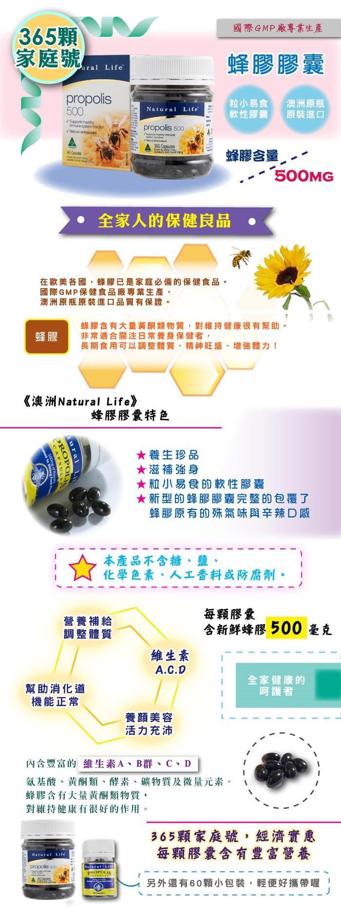 Natural Life-澳洲蜂膠膠囊500mg(365粒)產品資訊