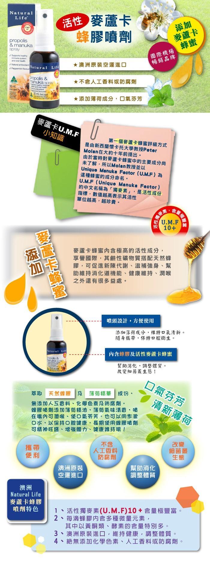 Natural Life-澳洲活性麥蘆卡蜂膠噴劑(30ml)產品資訊