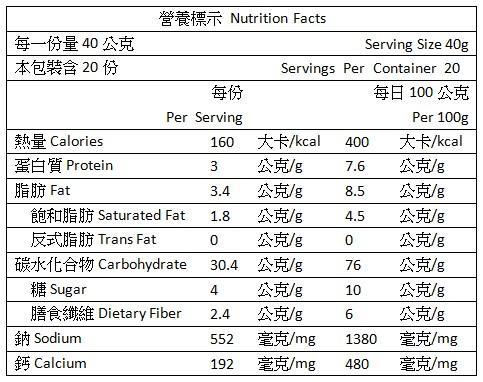 海力捷-野菜燕麥鹹粥(20包)成份含量