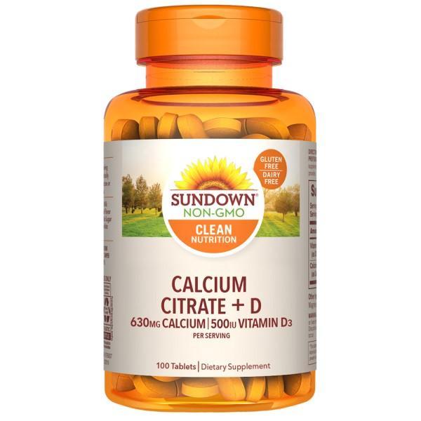 Sundown日落恩賜 精純檸檬酸鈣+維生素D3強化錠(100錠_50天份)