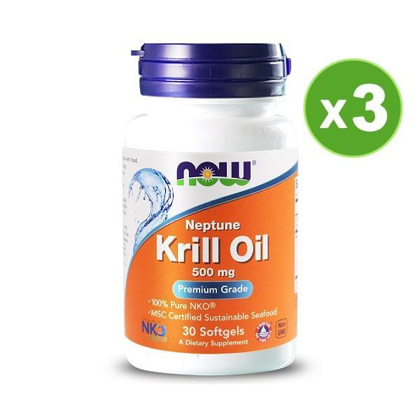 NOW健而婷-南極磷蝦油膠囊食品(30顆)3瓶優惠組