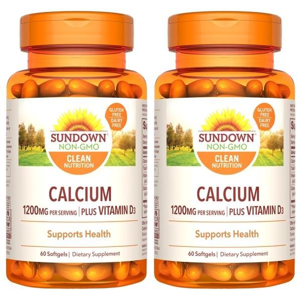 Sundown日落恩賜-液態鈣+D3軟膠囊(60粒X2瓶)(共120天份)