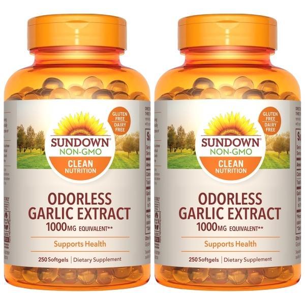 Sundown日落恩賜-無味冷壓大蒜精軟膠囊(250粒X2瓶)