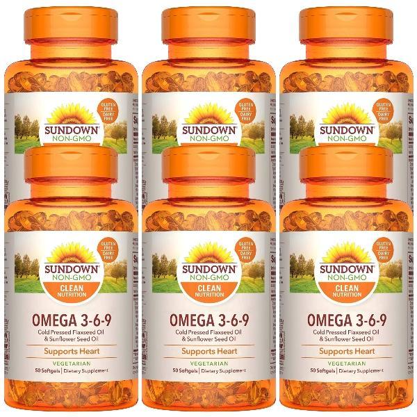Sundown日落恩賜-植物性配方(含Omega 369)軟膠囊(50粒X6瓶)