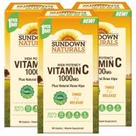 Sundown日落恩賜-緩釋型C 1000MG Plus玫瑰果錠(60錠X3瓶)(共180天份)