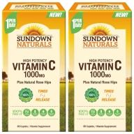 Sundown日落恩賜-緩釋型C 1000MG Plus玫瑰果錠(60錠X2瓶)(共120天份)